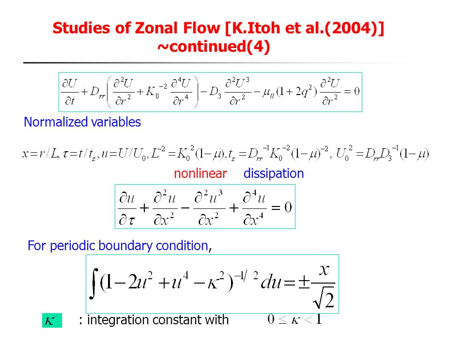 Studies of Zonal Flow [K.Itoh et al.(2004)] ~continued(4)